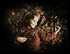 Autumn (magnusmagnus) Tags: lighting autumn cute fall girl contrast leaf kid high child vignetting abigfave