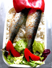 sardine bento(u) (chotda) Tags: food fish fashion shoe japanese salad shoes rice kawaii peppers bento spicy lunchbox sardine bentou bentobox artsyfartsyfeet