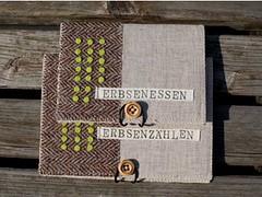 notebooks (MOONSTITCHES mangetsu) Tags: wool notebook felt cover badge pea ramie erbse needlefelted