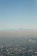 mount baker rises above the smog (leilaarfa) Tags: vancouver arial