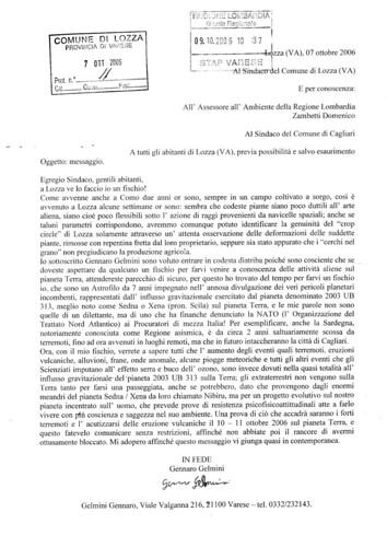 Lettera di Gennaro Gelmini ai lozzesi