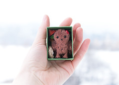 owl with ladybug in box (free_dragonfly) Tags: owl toys cute miniature sewing matchbox art brown handmade