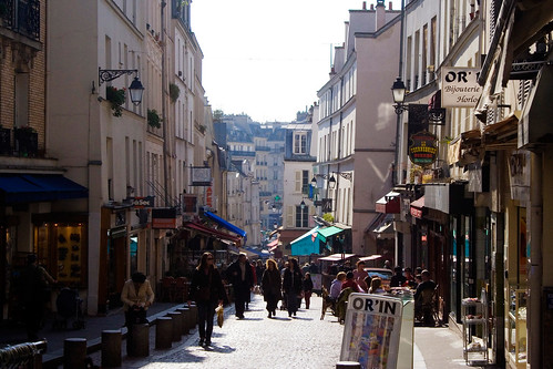 A look down Rue Mouffetard, one of the oldest streets in Paris.