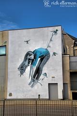 Taken Away (Rick Ellerman) Tags: nuart nuartfestival nuartaberdeen 2018 street art graffiti gra grafitti are streetart artists aberdeen aberdeenshire scotland scottish granitecity girl bird birds fly flyaway snik bluetits blue tits