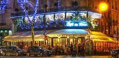 Paris nights-7 (albyn.davis) Tags: paris france europe travel night lights light colors blue yellow holidays decorations windows cafe restaurant people street