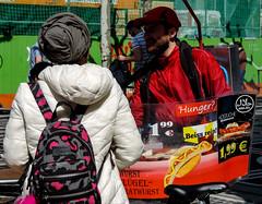 Halal food vendor (A. Yousuf Kurniawan) Tags: foodstall vendor streetvendor muslim halal food streetfood streetphotography urbanlife streetlife streetphoto colourstreetphotography decisivemoment people juxtaposition