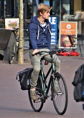 IMG_3371 (Skinny Guy Lover) Tags: outdoor guy man male dude hoodie hoodedsweater blond cyclist cycling bicycle candid