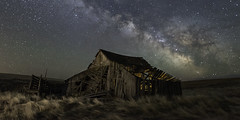 Hazy Barns (Flint Roads) Tags: ione milkyway or oregon usa abandoned barn decay deteriorated field grass lightpainting night nightsky old rural stars
