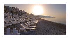 Morning mist at the beach. Nice # 3 (Tonino A) Tags: aube alba sunset chaises nice nissa la bella costa azzurra french riviera