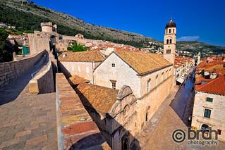 Dubrovnik walls and Stradun street view