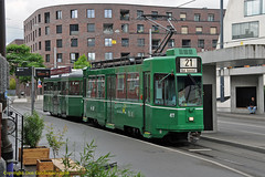 Next 21 to Bad Bahnhof (Don Gatehouse) Tags: switzerland basel baselerverkehrsbetriebe bvb tram tramwaj tramvaj villamos tranvia strassenbahn trolleycar streetcar eléctrico classbe44 singlecar 477 classb4 lowfloor bogietrailer 1496 baselbadbahnhof stjohann line21