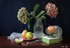 Light vs. Color (Esther Spektor - Thanks for 12+millions views..) Tags: stilllife naturemorte bodegon naturezamorta stilleben naturamorta composition creativephotography art tabletop food fruit apple pear slice hydrangea vase plate box goblet scarf water glass ceramics pattern ambientlight white green pink yellow mauve orange blue brown estherspektor canon