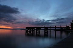 fishing wharf at sunrise (neil.bather@xtra.co.nz) Tags: fishing wharf sunrise dawn jetty maraetai auckland new zealand seascape