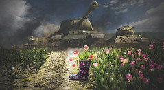 War and Peace (Photo Alan) Tags: magical realism tanks flowers festival tulip tulipfield boot nature