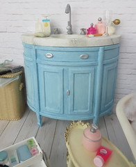 2. Bathroom sink (Foxy Belle) Tags: doll barbie bathroom diorama white blue brick wooden floor ooak repainted furniture tub sink rement vintage chalk paint miniature