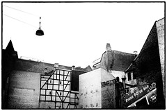 Truss & Brick (Thomas Listl) Tags: thomaslistl blackandwhite noiretblanc biancoenegro copenhagen denmark architecture urban truss bricks houses lamp streetlamp highcontrast imageborders sky