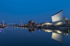 Blue Monday... but really a Saturday! (andyrousephotography) Tags: salfordquays lowrybridge millenniumbridge manchestershipcanal canal northbay imperialwarmuseumnorth iwmn quaywest oldtrafford manchesterunited bluehour longexposure 03dixon batterthequays