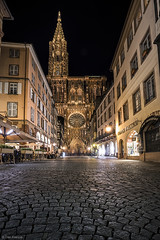 Strasbourg Cathedral at night (Dan_Fr) Tags: strasbourg cathedral france europe night longexposure ourlady notredame gothic cobbles streets shops wideangle sony a7r rue merciere travel