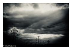 line...electrical wire and tower (kouji fujiwara) Tags: fujifilmxt2 fujifilm xt2 fujinon xf1655mmf28 xf1655mm f28 blackandwhite blackwhite monochrome noir electricalwire electrical wire tower sky skyscape dark cloud