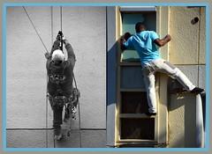 Discours de la Méthode ou la dérive des continents (Jean-Luc Léopoldi) Tags: escalade mur façade blanc couleur sécurité danger civilisation