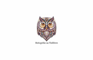 Kleines MANDALA OWL Bügelbild, Print Patch zum aufbügeln