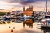 The day is drawing to a close (K.H.Reichert [ not explored ]) Tags: valletta goldenhour boot msida reflection spiegelung malta boat boats wasser reflexion church talpietà mt