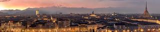Panorama of Turin at sunset.