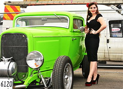 Holly_8834 (Fast an' Bulbous) Tags: pinup model girl woman hot sexy chick babe hotty car vehicle hotrod automobile show black wiggle dress high heels stockings long brunette hair people outdoor