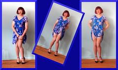 02 Robe bleue, fond de robe, guêpière, bas, talons (sophie_bas_nylons) Tags: sophie bas nylons stockings slip girl lady flaher exhib coquine robe bleue blue dress lingerie heels girdle guêpière string tranny travestie salope