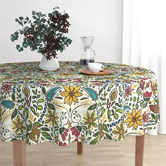 aziza pearl Malay tablecloth (Scrummy Things) Tags: sharonturner aziza morocco marrakech marrakesh illustration paintedwood flowers floral pattern surfacedesign boho bohemian summer festival roostery spoonflower tablecloth