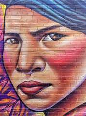 Face in the alley (Adaptabilly) Tags: toronto pattern building art travel woman ontario canada wall portrait painting graffiti ca