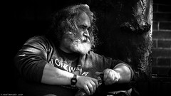 Take a break (Neil. Moralee) Tags: neilmoralee neilmoraleetaunton man face portrait large big black white bw bandw blackandwhite mono monochrome hair mop bushy beard facial sunshine dapple shadows tree xxl xxxl hairy candid taunton somerset people street neil moralee nikon d7200