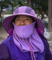 Village Life: Coordinated Colors (allentimothy1947) Tags: 2018 chenglong day25 kohoutownshipr may5 taiwan yunlincounty portrait villagers fashion clothing tradition traditional woman purple hat cover older fishing color villagelife streetphotography travel