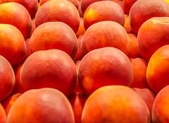 Nectarines (Adaptabilly) Tags: bokeh usa food washington travel closeup market repetition macro fruit seattle lumixgx7