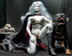 Lady Death and Hell Hound (Cremdon) Tags: phicen tbleague ladydeath hellhound 16scale 16actionfigures damtoys 16 actionfigures seamlessbody superflexibleseamlessbody