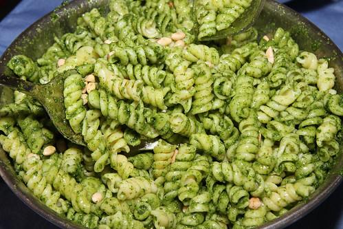 Organic pasta with with wild garlic mustard pesto and pine nuts