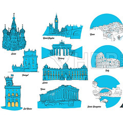 European Travel Landmarks Set (Hebstreits) Tags: architecture art berlin building capital cathedral church city cityscape destination drawing eiffel europe european famous france french greece historic history holiday icon illustration isolated italy landmark london monument old paris place portigal sanmarino set sign sketch symbol temple tour tourism tourist tower town travel urban vacation vector vintage world