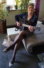 Guitar Gurl (Rikky_Satin) Tags: crossdresser transvestite transgender tgirl tgurl gurl pantyhose dress denim jacket pumps