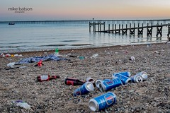 Rubbish at Dusk (Mike Batson) Tags: litterfree litter keepbritaintidy recycle recycling juxtaposition monday bankholiday seascape landscapephoto landscapephotography landscape sunset beach coastcoastal lagercans brokenglass glass plastic mess rubbish copyrightmikebatson
