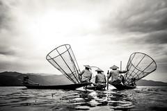 Fisherman at Inle lake - Myanmar (trai_thang1211) Tags: nhifoto blackwhite blacknwhite fishing myanmar burma