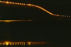 Shooting Into Nothingness (rocinante11) Tags: california sanmateo bridge light night longexposure timedexposure film kodakfilm filmcamera ambient ambientlight