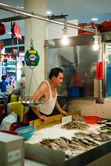 Fish stall - Tion Baru - Singapore (waex99) Tags: 12 2018 bary birthday m m262 may paulnah tiong ltm lugs summitar man fish shopkeeper seller market poisson poissonnier marche homme shop cage grid