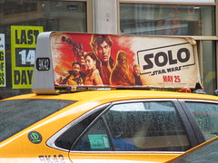 Solo Star Wars Movie Poster Taxi Cab Ad Fin 1840 (Brechtbug) Tags: solo a star wars movie poster taxi cab ad fin alden ehrenreich han donald glover lando calrissian joonas suotamo chewbacca woody harrelson tobias beckett may 2018 new york city portrait portraits eight story space opera film science fiction scifi robot metal man adventure galactic prototype design metropolis standee nyc billboard billboards posters 7th ave 42nd street ads advertisement advertisements 05132018 st avenue