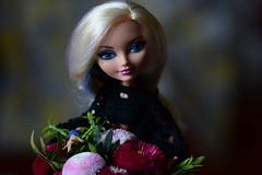 THANKS Y´ALL (jessandgrace) Tags: doll portrait colorimage colors backgroundblur bokeh blossoms flowers posy pink black red green figure face eyes blueeyed hair blonde darlingcharming everafterhigh eah pretty beauty glamour cute indoor