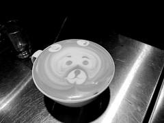 Coffee Times  with Mr Happy Face   .... (Mr. Happy Face - Peace :)) Tags: latte coffee bear break relaxing cute barista breakfast love peace flickrfriends breaktime coffeetime coffeecups mug artwork art artist blackwhite bw art2018 foodart2018 flickrfriday macromondays hmm 7dwf
