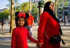 Street - Hats (François Escriva) Tags: paris france candid street streetphotography hijab headscarf fun funny mickey minnie ears olympus omd red black blue green trees mother daughter photo rue