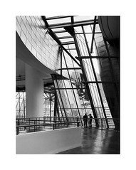 A masterpiece of the 20th c. 16 (2 Marvelous 4 Words (Blanca Gomez)) Tags: bilbao spain museum guggenheimmuseum museo arquitectura architecture building masterpiece artgallery arts workofart frankgehry thomaskrens bw blackwhite deconstructivism glass limestone titanium
