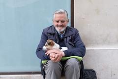 Man in the street I (Henry Leirvoll) Tags: dog man streetphotography beard old