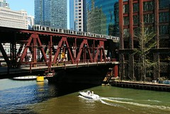 Lake Street over the Chicago River. (Cragin Spring) Tags: midwest unitedstates usa unitedstatesofamerica downtown downtownchicago elevated el l train bridge river chicagoriver water boat greenline city chicago urban chicagoillinois chicagoil illinois il