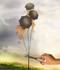 Girls in the wind (jaci XIII) Tags: meninas surrealismo sombrinhas mão tesoura surrealism girls hand umbrellas scissors
